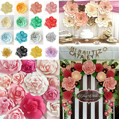Paper Flower Backdrop Wall Giant Rose Flowers DIY Wedding Party Decor 17 Colors