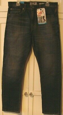 f48e2f3cfef Men's 34X32 Levi's Signature Slim Straight Flex Jeans Dark Blue Denim New  NWT
