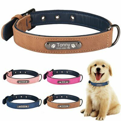 Personalized Dog Collar Leather Soft Padded Custom Engraved Name ID Tag Puppy S