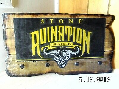 Handmade Rustic Wooden Stone Ruination Double IPA 2.0 Sign Keyholder 2019