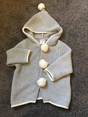 Seed Heritage Baby Cotton Knit Hoodie Cardigan Grey With Pompoms Size 00 3-6m