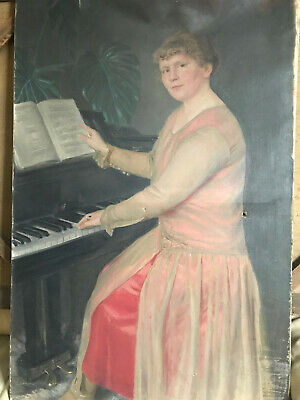 """Very Large Antique 1927 """"Woman At Piano Scene"""" Oil Painting - Signed"""