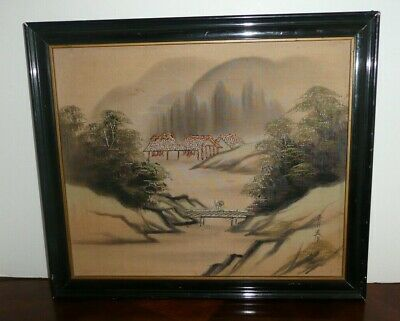 Vintage Antique Asian Japanese Ink Painting On Silk With Embroidery Signed