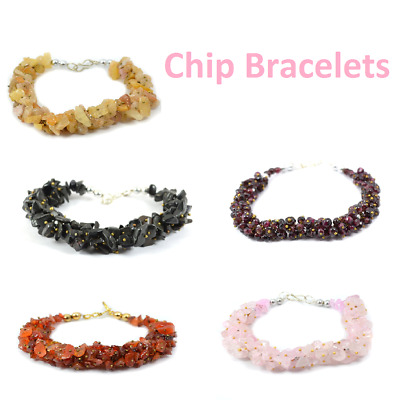 Natural Crystal Stone Chip Bracelet For Reiki Healing and Crystal Healing
