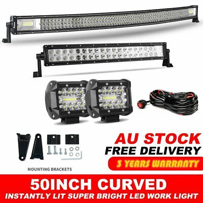 "50inch Curved Cree LED Light Bar Spot Flood Work Driving 4WD 52"" +22"" +4"" Pods"