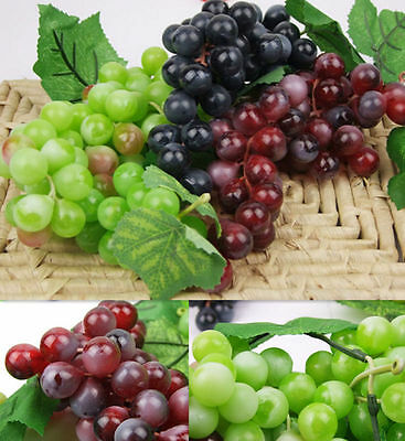 Bunch Lifelike Artificial Grapes Plastic Fake Fruit Home Decoration Kr