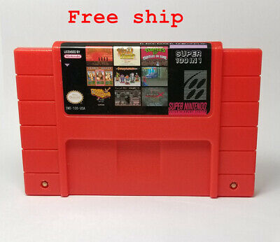 Super 100 In 1 Game Cartridge 16-Bit Multicart US NTSC SNES For Super Nintendo