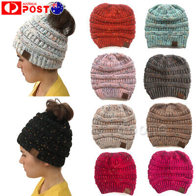 Women's Ponytail Beanie Ribbed Winter Messy Bun Cable Warm Soft Knit Hat Cap AU