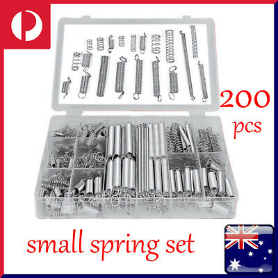 200Pcs Small Spring Set Kit Assortment Steel Compression Extension Coil Boxed OZ