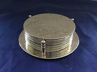 Silver Plated Ornate Round Coasters Drinks Mats inChased Holder Vintage Retro