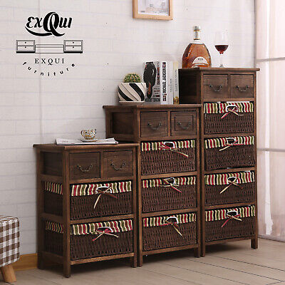Chest Of Drawers Bedside Shabby Chic Sideboard Cabinet Wooden Wicker Basket