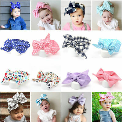 Kids Baby Girls Large Big Bowknot Cotton Hair Bows Toddler Headband Hair Band