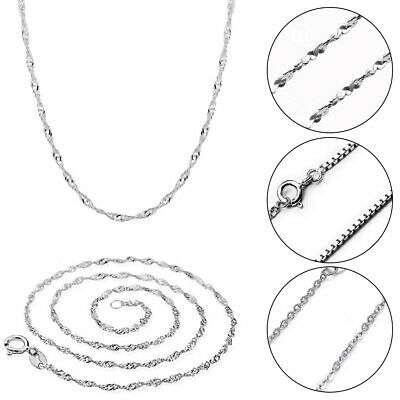Women S925 Sterling Silver Solid Real Classy Italian  Chain Necklace Multi-style