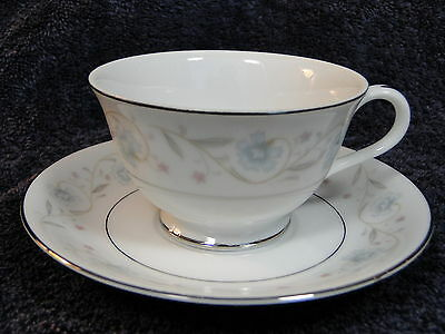 Fine China of Japan English Garden 1221 Footed Tea Cup Saucer Set Mint