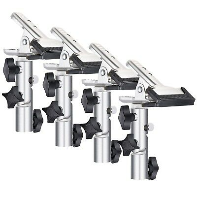 """4x Silver Heavy Duty Metal Clamp Holder 5/8"""" Stud Max 1.96""""/5cm Light Stand Boom"""