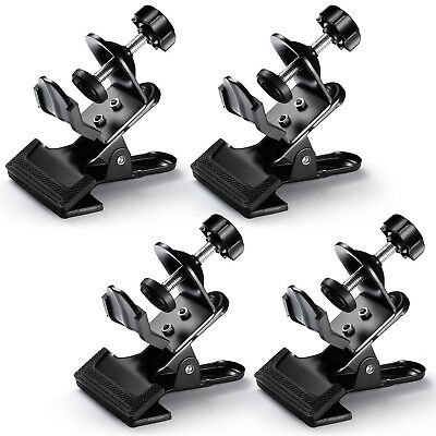 4Pack Multi-Functional Black Clamp Clip Holder w/ U-Clamp for Photography Studio