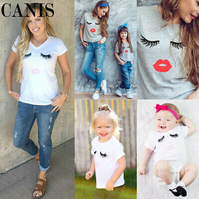 Family Matching Women Mother Mom Kids Cotton T Shirts Clothes Tee Tops Outfits