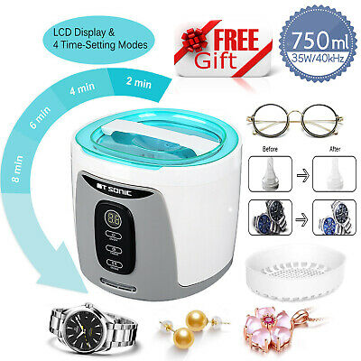 750ml Digital Ultrasonic Cleaner Ultra Sonic Cleaning Tank Bath with a Basket UK