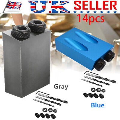 Pocket-Hole Jig Aluminium Block Screw Invisible Joints 15° Angle 6 8 10mm Guides