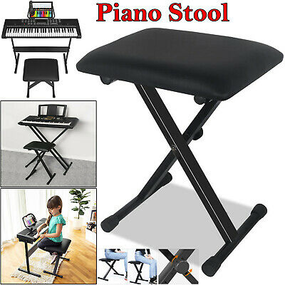 Piano Stool Keyboard Bench Black Padded Seat Cushion Chair Height Adjustable