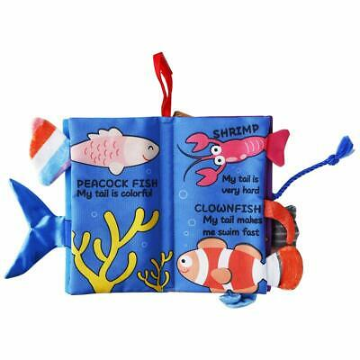 Beiens 3D Crinkle Fish Tails Toddlers Quiet Book Sensory Busy Cloth Book