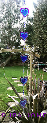 Hearts Sun Catcher Stained Glass String of 5 Blue Hanging Window Decoration Love