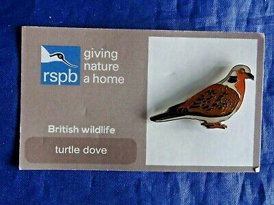RSPB Giving Nature Home turtle dove Metal Pin Badge on FR Card