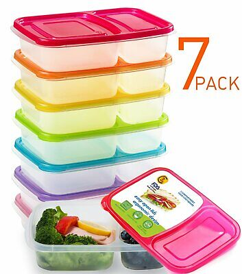 Mealcon Snack Food Divided Bento Lunch Box Containers-2 Compartment,7 Pack