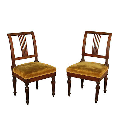 Pair of Neoclassical Walnut Chairs Italy Last Quarter of 1700s