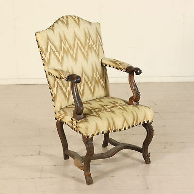 Armchair from Piedmont Walnut Italy First Half of 1700s