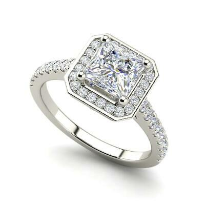 34ea15cd5 Halo Pave 1.95 Carat VS1/H Princess Cut Diamond Engagement Ring White Gold