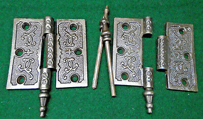 ONE PAIR of VINTAGE EASTLAKE HINGES  'Fleur De Lis' 3 1/2 x 3 1/2 NICE (12227)