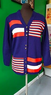 Fabulous Vintage 1960S 1970S Red White And Blue Striped Cardigan