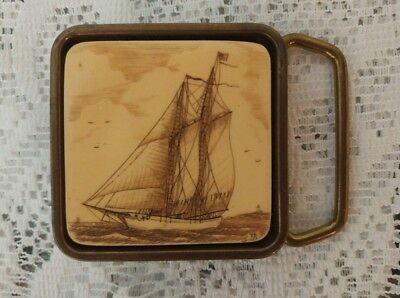 Vintage Solid Brass Belt Buckle Scrimshaw Sailing Ship By BTS