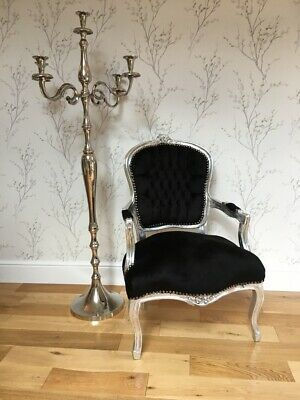 French Louis style Shabby Chic Black Velvet Chair / Silver wooden frame