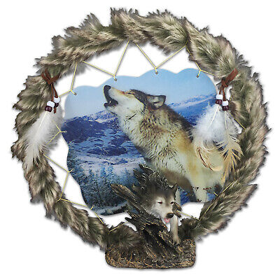 Wolf Head Dreamcatcher Plaque with Holographic Artwork - Brand New