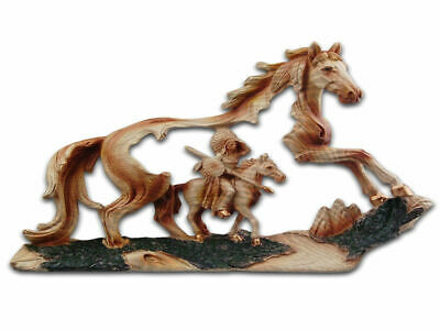Indian Chief & Horse Resin Plaque - Brand New