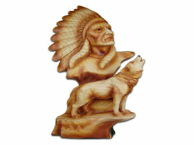 The Cherokee River Collection - Chief & Howling Wolf Resin Plaque - Brand New