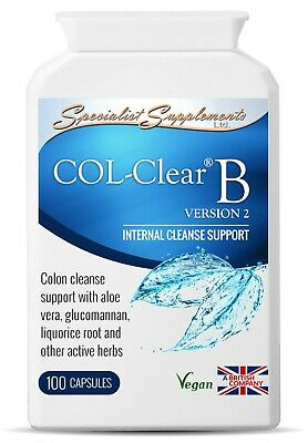 COL-Clear B v2 x 100 Veg-Capsules; Colon & Bowel Cleanser Specialist Supplements