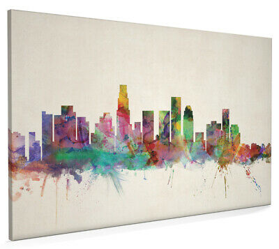 Los Angeles California Watercolour Skyline Box Canvas and Poster Print (471)