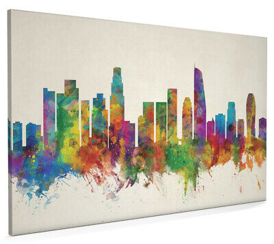 Los Angeles California Skyline Cityscape Box Canvas and Poster Print (2655)