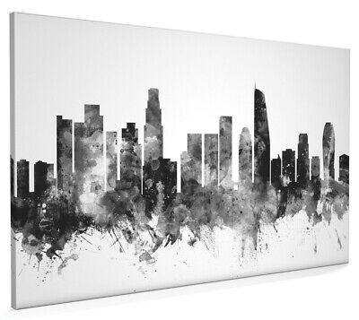 Los Angeles California Skyline Watercolour Box Canvas and Poster Print (2657)