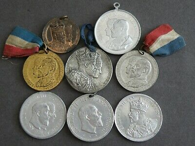 Historical Medals - 8x COMMEMORATIVE MEDALS - KING EDWARD VII 1902 & 1910 (OS01)