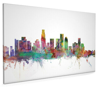 Los Angeles California Skyline Painting Box Canvas and Poster Art Prints (1204)