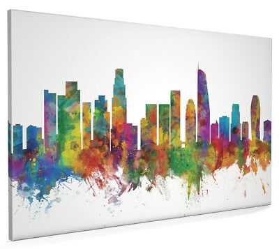 Los Angeles California Skyline Painting Box Canvas and Poster Art Prints (2656)