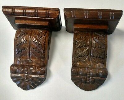 "*PAIR* CRAVED Wood CORBELS Shelf/Mantle BRACKETS 9+3/4"" L x 7+1/2"" W  x 4+1/4"" D"