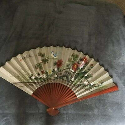 "Oriental Chinese Asian Wall Fan Painted 24"" x 40"" Mahogany with Box"