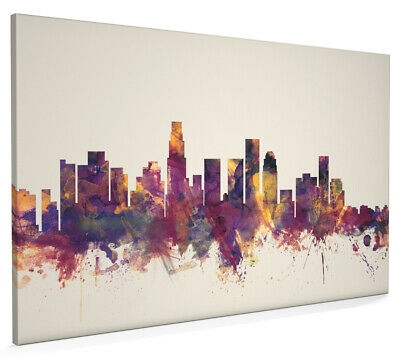 Los Angeles California Skyline Box Canvas and Poster Beige Background (1362)