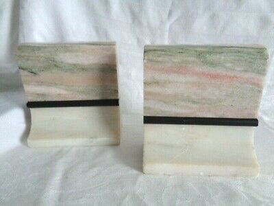Pair Vintage Estate Book Ends Mid Century Modern Marble