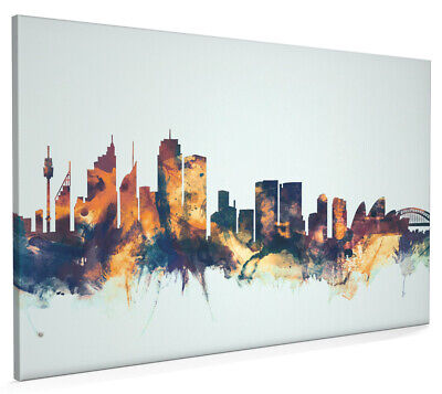 Sydney Australia Skyline Box Canvas and Poster Blue background (1631)